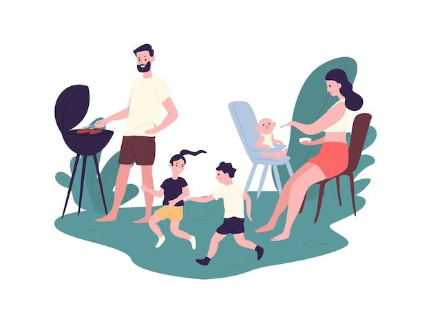 Familia feliz pasar tiempo en la fiesta de barbacoa de verano. madre, padre e hijos divertidos realizando actividades recreativas al aire libre. padres e hijos en picnic. ilustración de vector de dibujos animados plana.