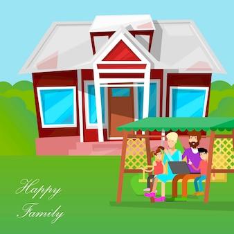 Familia feliz personajes de dibujos animados.