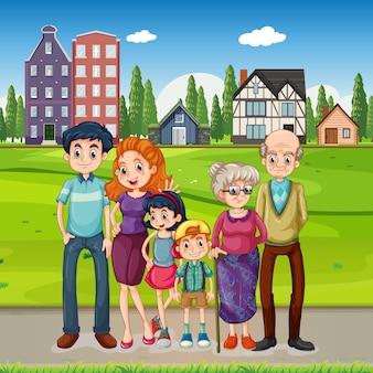Familia feliz de pie afuera en muchas casas