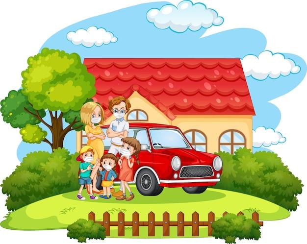 Familia feliz de pie fuera de casa con un coche aislado