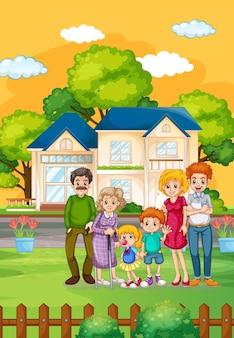 Familia feliz de pie fuera de casa