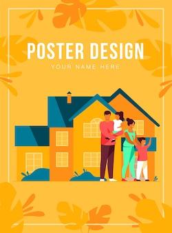Familia feliz de pie juntos frente a la plantilla del cartel de la casa