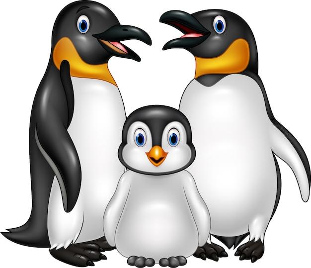 Familia feliz del pingüino de la historieta aislada en el fondo blanco