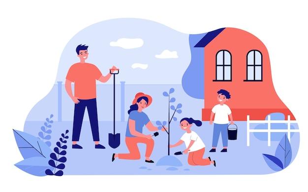 Familia feliz plantando árboles en la ilustración del jardín. dibujos animados de padre, madre e hijos que cultivan plantas cerca de casa. concepto de verano, pueblo y agricultura.