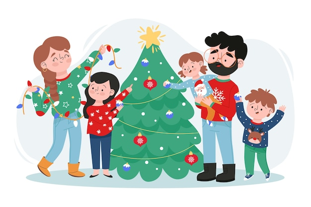 Familia feliz que adorna el árbol de navidad