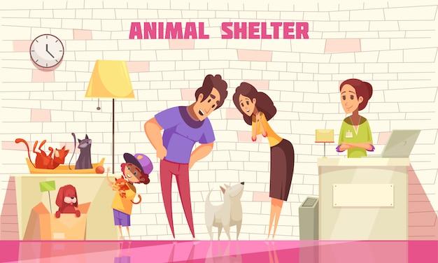 Familia feliz que consta de madre padre e hijo pequeño adoptando perro del refugio de animales plana