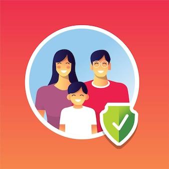 Familia feliz sana protegida de la pandemia