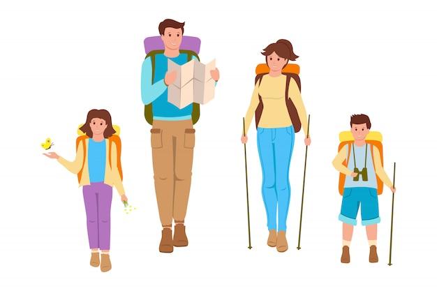 Familia feliz senderismo en estilo de dibujos animados de fondo blanco. padre, madre e hijos viajando