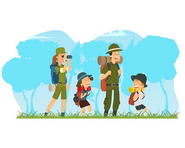 Familia feliz y senderismo.