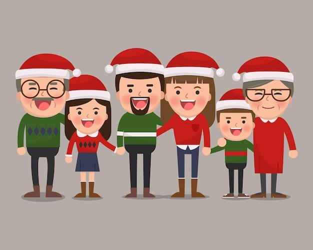 Familia feliz con sombreros de navidad. abuelos, padres e hijos juntos. ilustración plana.