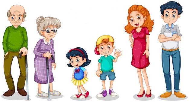 Una familia feliz con sus abuelos.