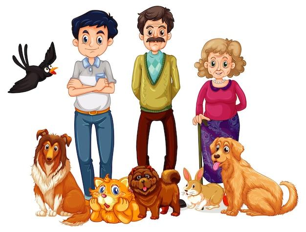Familia feliz con sus mascotas sobre fondo blanco.