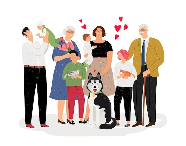 Familia feliz unida. ancianos, mamá, papá, personajes infantiles. familia con mascotas ilustración vectorial