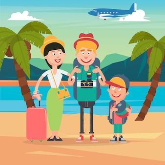 Familia feliz en viaje en avión. familia joven en vacaciones tropicales