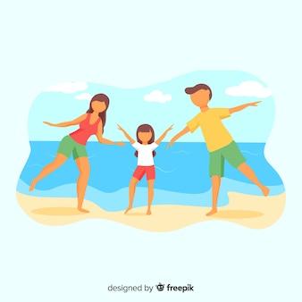 Familia fuera de casa