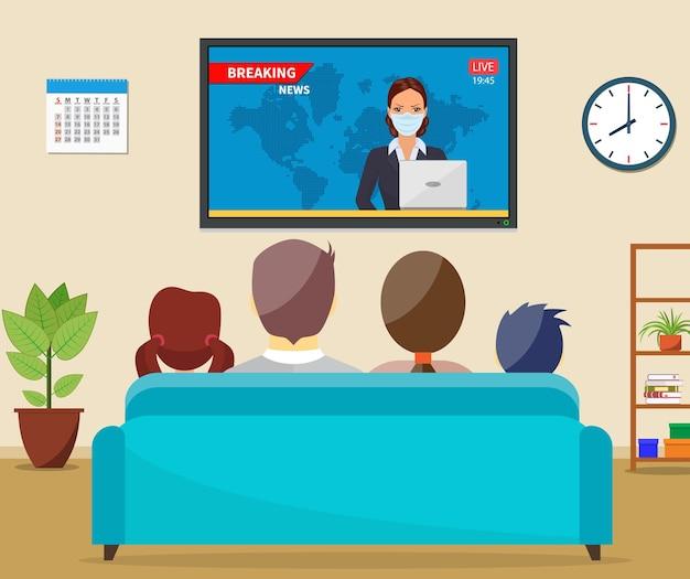 Familia con gato viendo la televisión noticias diarias