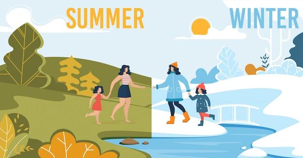 Familia haciendo actividades al aire libre en verano e invierno.