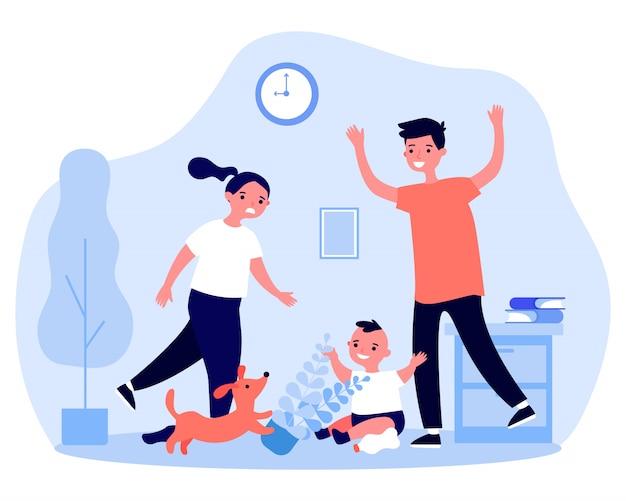 Familia haciendo desorden en casa