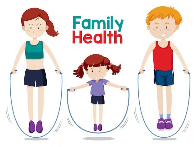 Familia haciendo ejercicio juntos