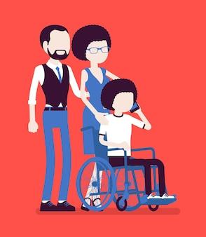Familia con un hijo discapacitado. padres con una hija adolescente sentada en silla de ruedas, hablando por teléfono, atención social y apoyo médico para la rehabilitación de niños. ilustración vectorial, personajes sin rostro