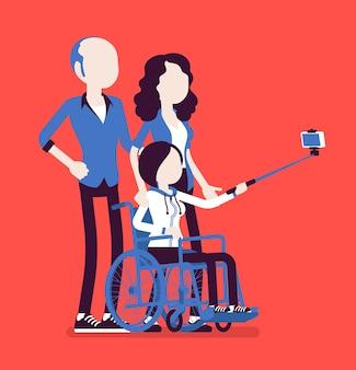 Familia con un hijo discapacitado. los padres que toman una foto selfie con una hija adolescente sentada en una silla de ruedas, atención social y apoyo médico, rehabilitación. ilustración vectorial, personajes sin rostro
