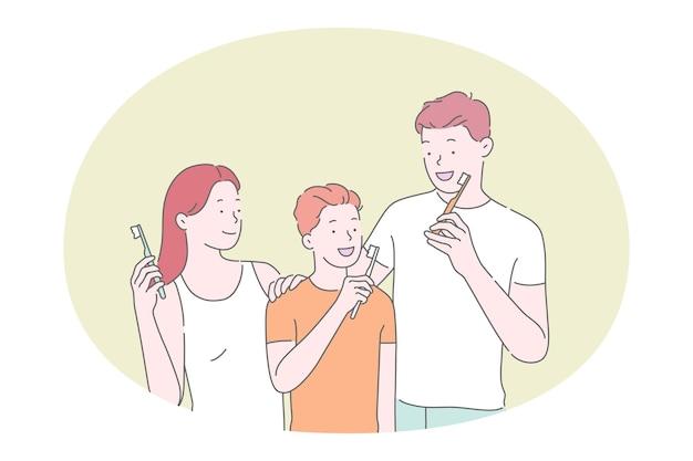Familia con hijo limpiando los dientes con pasta de dientes y cepillo de dientes