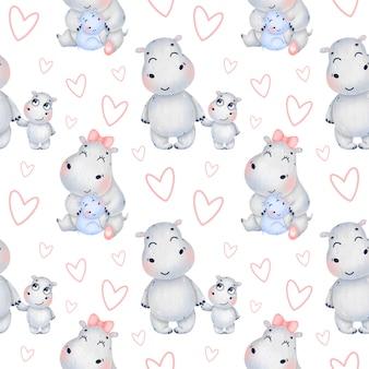 Familia de hipopótamos de dibujos animados lindo con corazones de patrones sin fisuras