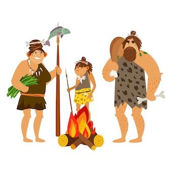 Familia de hombres de las cavernas de dibujos animados