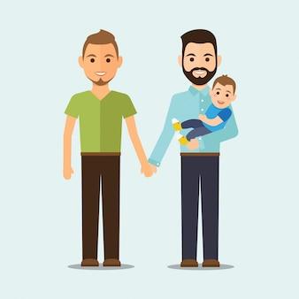 Familia homosexual con niño