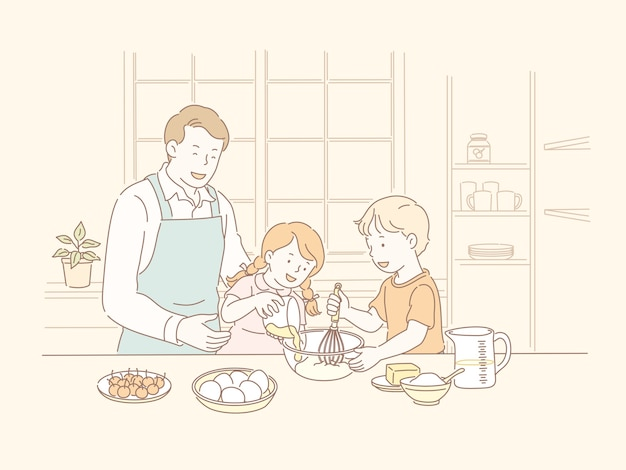 Familia horneando juntos en la cocina en la ilustración de estilo de línea