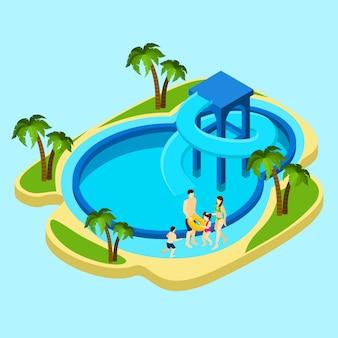 Familia en la ilustración del parque acuático