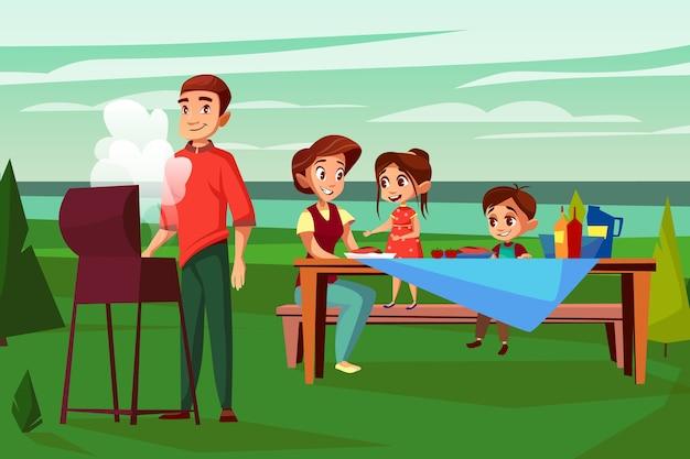 Familia en la ilustración de picnic barbacoa. diseño de dibujos animados de hombre padre freír en la parrilla de barbacoa