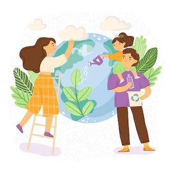 Familia ilustrada cuidando su planeta