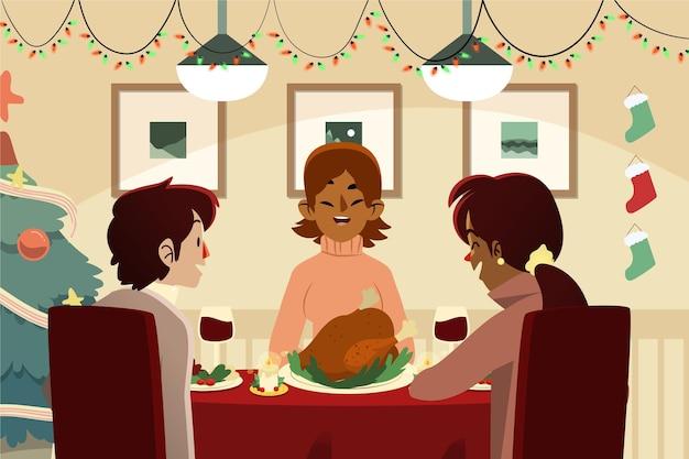 Familia ilustrada sirviendo cena en la noche de navidad.