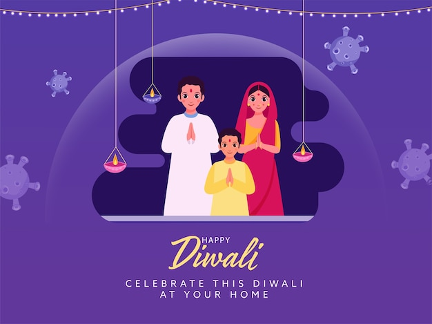 Familia india celebra diwali