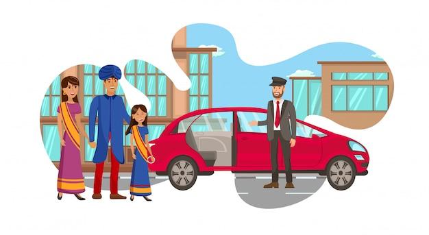 Familia india rica esperando ilustración de carro