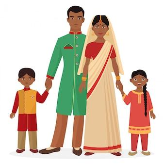 Familia india en ropa nacional tradicional.