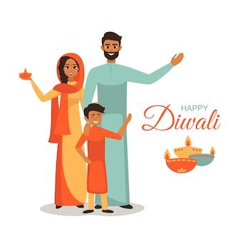 Familia india en traje nacional sostiene lámparas encendidas para el festival de luces que desean feliz diwali