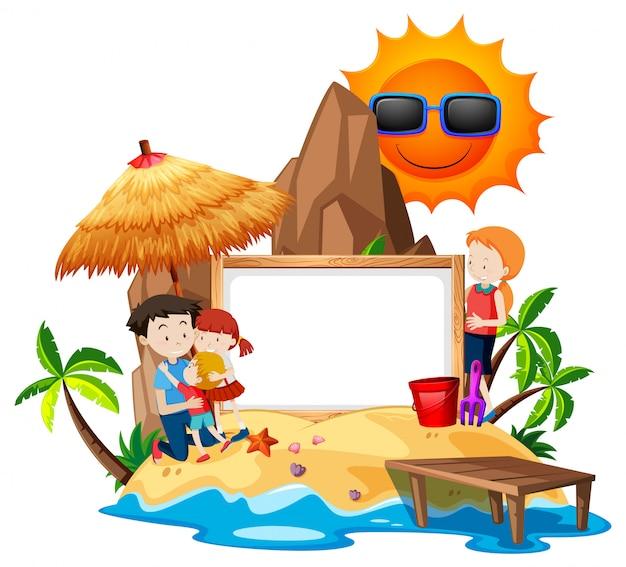 Familia en la isla en blanco marco