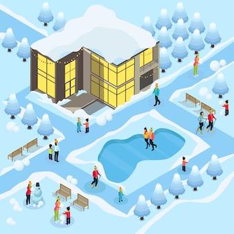 Familia isométrica en plantilla de vacaciones de invierno con snowboard, patinaje, esquí, muñeco de nieve, edificio cubierto de nieve y árboles