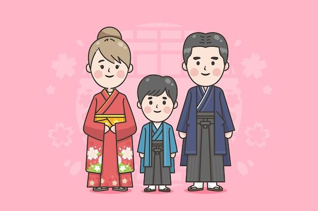 Familia japonesa con ropa tradicional.