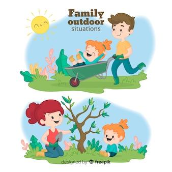 Familia en el jardín dibujada a mano