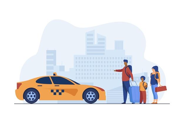 Familia joven con equipaje tomando taxi al aeropuerto.