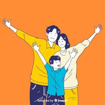 Familia joven feliz en estilo de dibujo coreano