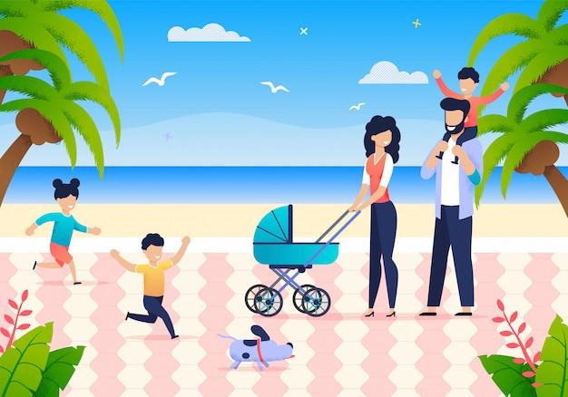 Familia joven con hijos disfruta de vacaciones de verano
