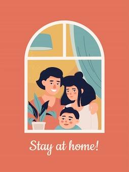 Familia joven con un niño en casa y texto ¡quédese en casa!