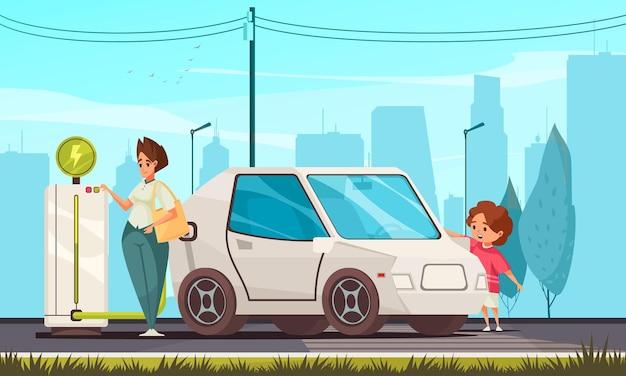 Familia joven que carga un coche eléctrico utilizando una ilustración de paisaje urbano de composición plana de energía verde ecológicamente respetuosa con el medio ambiente