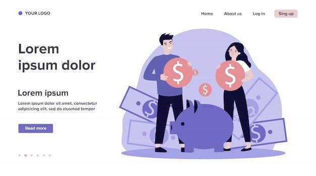 Familia joven que invierte dinero para la ilustración futura
