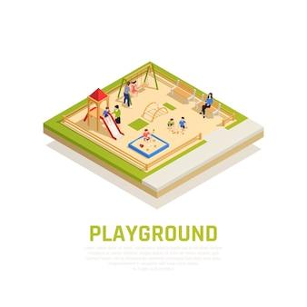 Familia jugando concepto isométrico con parque infantil con símbolos de niños