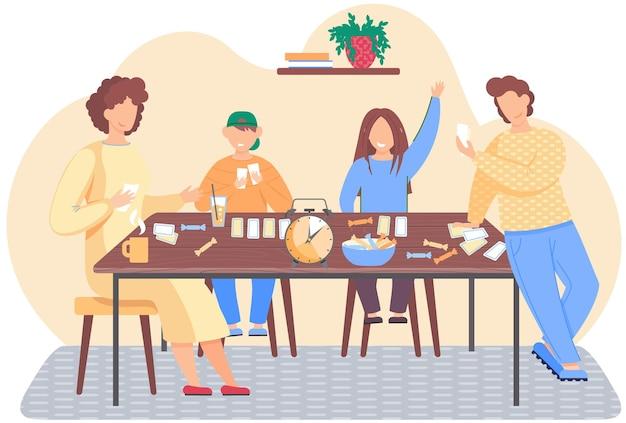 Familia jugando un juego de mesa